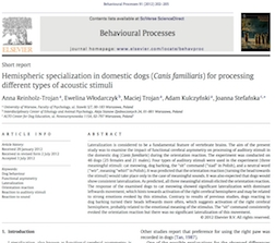 Hemispheric specialization in domestic dogs